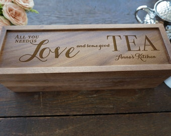 Personalized Tea Box, Rustic Wood Tea Box, Custom Tea storage chest, Tea lovers gift, Wood kitchen 4 compartment storage box engraved lid