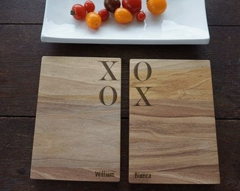 XOXO Sandwich Boards for Valentine's Day Gift, Walnut sandwich or cheese boards, Foodie's Gift, First House Cutting Board Present, Set of 2