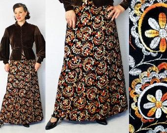"""Maxi Skirt / 1970s Skirt / 70s Skirt / Embroidered Skirt / Gypsy Boho / 1970s Maxi Skirt / 70s Maxi Skirt / Full Length Skirt / Waist 29"""""""