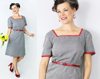 "50s Wiggle Dress / 1950s Dress / Wiggle Dress / 50s Dress / 1950s Wiggle Dress / Day Dress / Gingham Dress / XL Dress / Bust 40"" / Waist 40"""