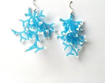 Blue White Earrings.  Gift For Her.  Birthday Gift.  Beadwork.