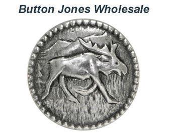 50 pcs. Moosey 3/4 inch ( 20 mm ) Metal Buttons Antique Silver Color