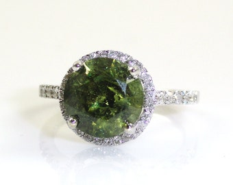 3.36 Carat Demantoid Garnet Ring with Diamond Halo in 14k White Gold (14345)