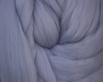 Dyed Merino - Glacier - Solid color commercial dyed - combed top roving spinning felting fiber fibre arts  - blue gray grey