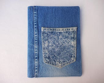 Denim Journal Bookcover with pocket for journaling, drawing, poetry, notes, for notebook protection, upcycled jeans, denim bookcover 20