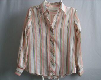 Vintage Womens Striped Button Down Shirt ~ 70s Lightweight Blouse ~ Long Sleeve Casual Stripe Blue Orange Purple Red Green White Stripes (B8