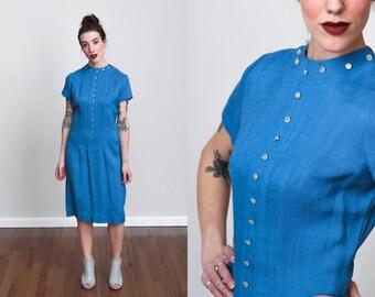 1970s Dark Powder Blue A-Line Shift Dress - S - Linen - Mod - Modest
