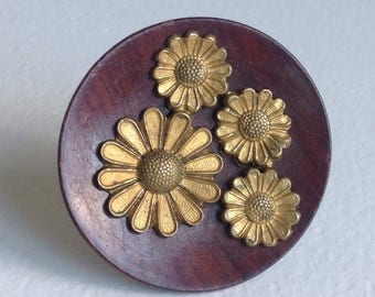 Wooden Flower Brooch Pin  - Gifts for Her - Mothers day