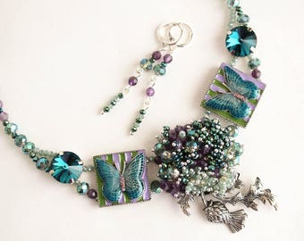 Handmade jewelry set TURQUOISE BUTTERFLY: necklace and earrings