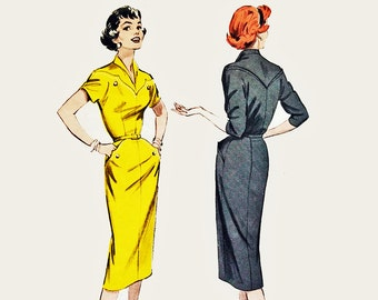 50s Dress Pattern Butterick 7231 Slim Fit Dress 1950s Vintage Sewing Patterns for Womens Vintage Dress Patterns Bust 32