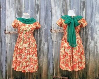 Vintage 1950's Summer wild flower Circle Dress