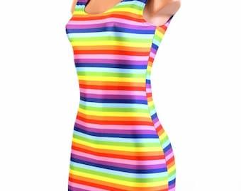 Rainbow Stripe Print Scoop Neck Spandex  Bodycon Clubwear Tank Mini Dress  -E7531