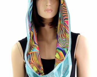 Reversible Infinity Festival Hood in Seafoam Holographic & Tropical Swirl -154387
