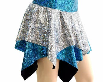 Silver on Black Shattered Glass and Turquoise on Black Shattered Glass Double Layer Pixie Skirt Rave Festival Clubwear EDM - 154395