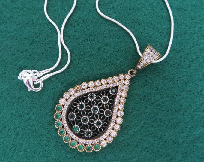 Vintage Emerald Pendant, Sterling Silver CZ & Emerald Necklace