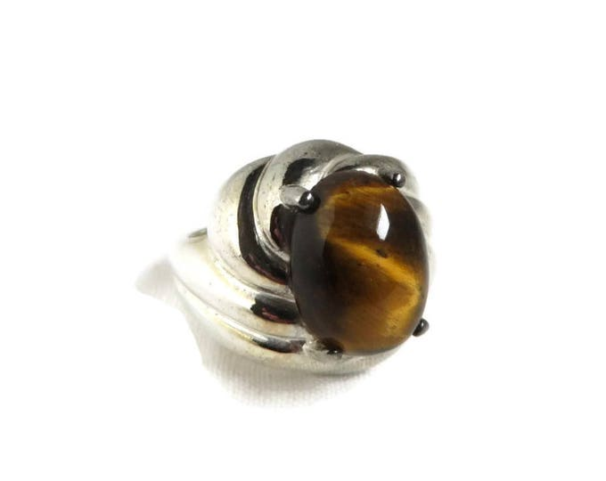 Vintage Tiger Eye Sterling Silver Ring, ADI Ring Size 6 Cocktail Ring Vintage Jewelry Gift Idea