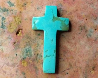 Medium Light Blue Turquoise Cross/ Crucifix Cabochon/ backed/ Turquoise Mountain