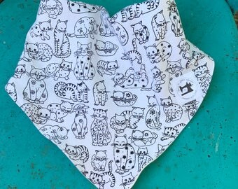 Perfect Baby Gift • The Ultimate Bib • Cats and Kittens Bibdana • Black and White Kitten Bib • Organic Bamboo Fleece Bibdana • Absorbent Bib