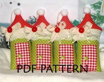 PDF Pattern. Christmas Ornament Sewing Pattern. Christmas House Pattern. Two sizes Pattern.  Instant Download. Digital PDF