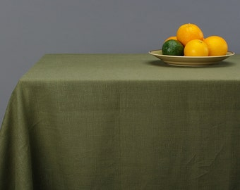 Linen Tablecloth Natural Stone Washed Moss Khaki