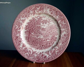 Vintage English Ironstone Tableware EIT England Pink Transferware 25 cm/9.8 inches Plate Retro English Dinnerware Countryside Rural Motif