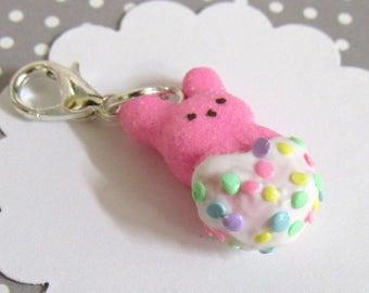 Peeps Charm, Polymer Clay Charm, Easter Bunny Charm, Stitch Marker, Planner Accessory, Journal Charm, Kawaii Bunny, Pastel Sprinkles