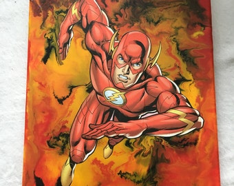 """9"""" X 12"""" melted crayon art featuring DC comics The Flash canvas"""