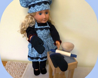 American Doll Wood Kitchen Set/18 inch Doll Butcher Block/Kitchen Accessories/AG Clothes/Girl Doll Apron/Cooking Utensils/Chef Baking Set