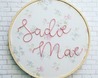 embroidered hoop art . personalized gifts . hand embroidered word art . custom name embroidery . nursery decor . wall decor . vintage fabric