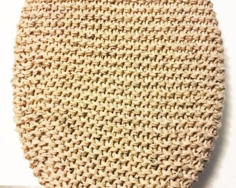 Knitted Elongated / Small Toilet Seat Lid Cover, triple buff fleck acrylic yarn, Bathroom decor