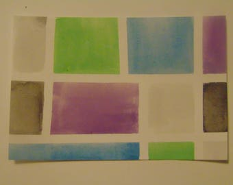 Abstract Watercolor Postcard *Green, Blue, and Purple*