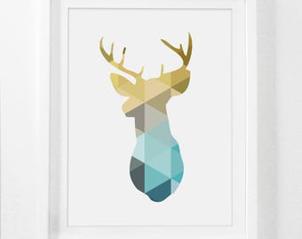 Nursery Wall Art, Boy Nursery Wall Art, Boy Nursery, Nursery Decor, Blue, Deer, Gold Print, Blue and Gold, Teal and Mustard, Printable Art