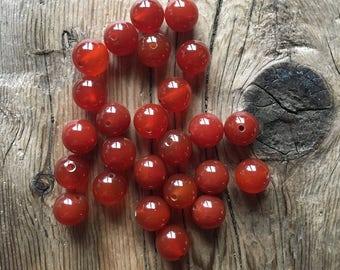 Carnelian Gemstone Beads - Red - 12mm Round - 10 Beads