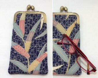 Navy leaves Eye glass case/Sakura/ Smartphone case /Sun glass case / Hand-made/49