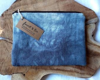 Shibori Zipper Pouch, Linen Bag in Indigo Blue | Hand dyed bag, boho coin purse, Japanese tie dye pencil case, pouch, zippered make up bag.