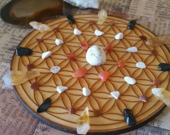 Crystal Grid - Flower of Life - Focus and Grounding - Crystals Included