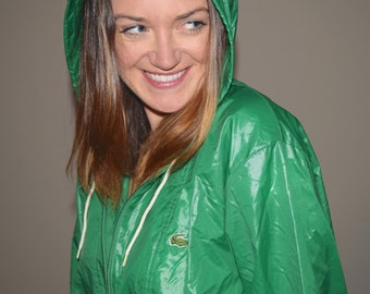 Vintage 70s Izod Lacoste Zip Up Windbreaker Jacket Green Hood