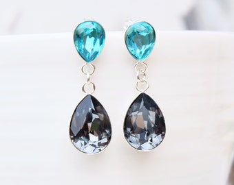 Sterling Silver Swarovski Crystal Earring-Teardrop Swarovski Bridesmaids Wedding Earring-Pear shape Dangle Drop Earrings-Teal Turquoise Grey