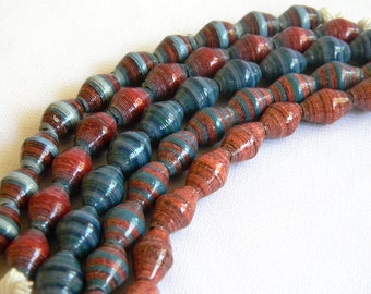 Paper Bead Jewelry Supplies - Paper Beads - Hand painted - Lot of 50 - #1410