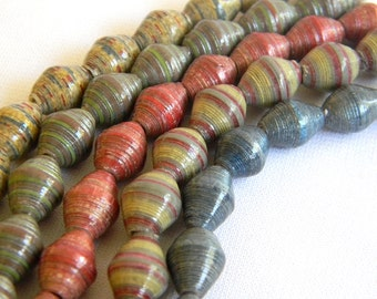 Paper Bead Jewelry Supplies - Paper Beads - Hand painted - Lot of 50 - #B400