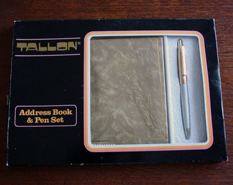 Vintage Retro 1970s Tallon Telephone Address Book & Pen Set