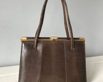 Vintage Marquessa Lizard Skin Handbag Retro Marquessa Bag Vintage Bag Kelly Bag 1950s Bag