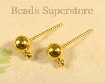 5 mm Gold-Plated Brass Ball Post Ear Stud - Nickel Free and Lead Free - 10 pcs