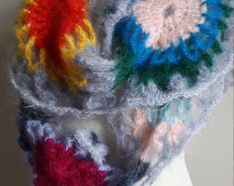 Crochet Mohair Flowers Design Scarf\Shawl