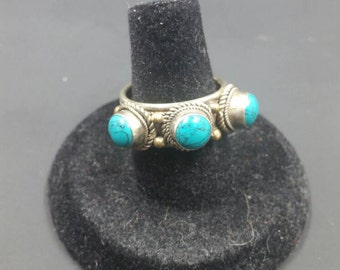 Tibetan Turquoise and Tibetan Silver Ring