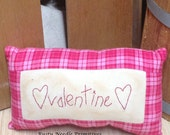 Primitive Stitched Valentine Hand Embroidered Folk Art Pillow