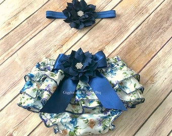 Baby girl clothes, navy blue floral ruffle bloomers, baby diaper cover, newborn girl bloomer, infant girl, baby girl headband, easter outfit