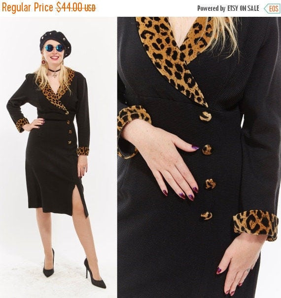 Vtg 80s 90s Suit Coat Wrap DRESS Midi LEOPARD Print Retro Glam Grunge Chic Knit Boho Kitschy Stretchy Pin Up Goth Club Kid Large extra large