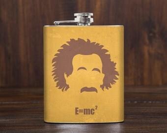 Albert Einstein Hip Flask // science gift // nerd gift // physics // natural philosophy // E=mc2 // general theory of relativity // 7oz