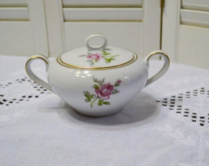 Vintage Symco Rose Lea Sugar Bowl White Pink Rose Wedding China Replacement Made in Japan PanchosPorch